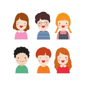 Flat design happy emotions children
