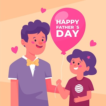 Flat design happy father's day illustration