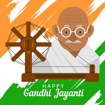 Flat design happy gandhi jayanti event