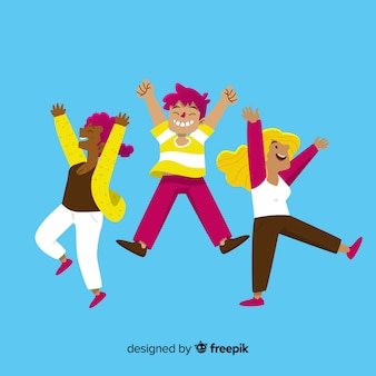 Flat design happy girls jumping