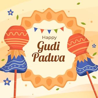 Плоский дизайн happy gudi padwa