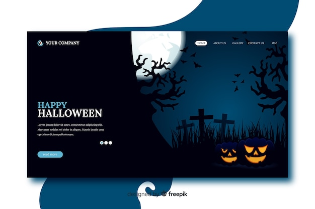 Flat design happy halloween landing page