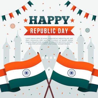 Flat design of happy indian republic day