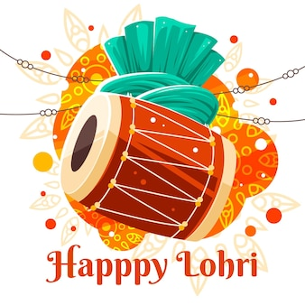 Flat design happy lohri celebration