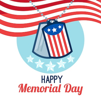 Flat design happy memorial day dog tags