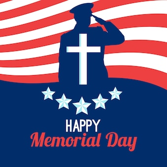 Flat design happy memorial day silhouette of soldier