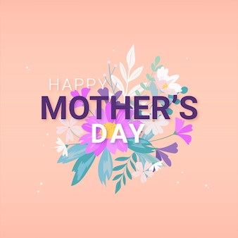 Flat design happy mother's day and bouquet of flowers