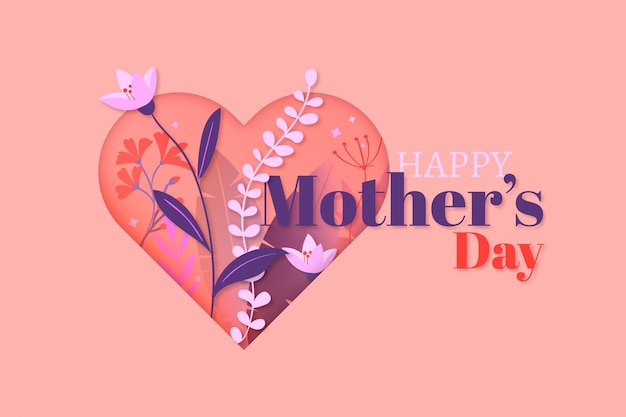 Flat design happy mother's day and heart