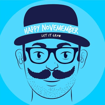 Flat design happy movember let it grow background