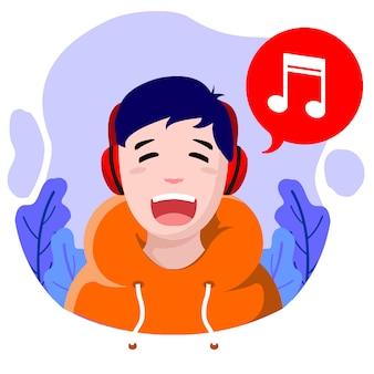 Плоский дизайн счастливая музыка мальчик векторные иллюстрации