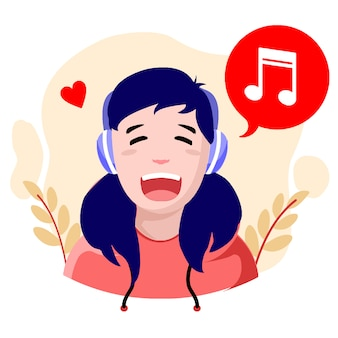 Flat design happy music girl vector illustration