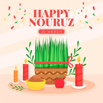 Flat design happy nowruz celebration