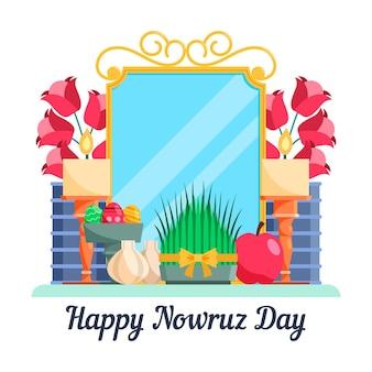 Flat design happy nowruz celebration