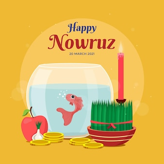 Flat design happy nowruz elements