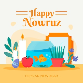 Flat design happy nowruz illustrated items
