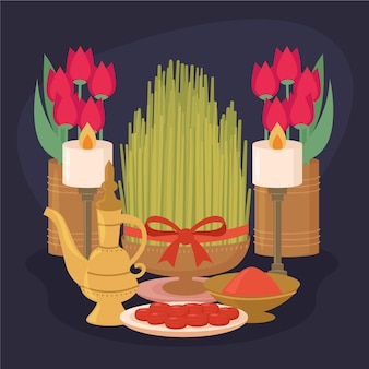 Flat design happy nowruz iranian event