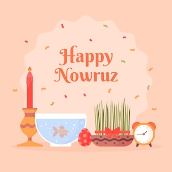 Flat design happy nowruz items arrangement
