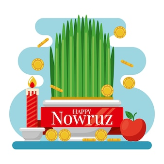 Flat design happy nowruz items