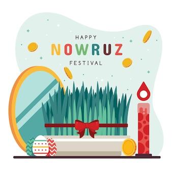 Flat design happy nowruz theme