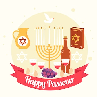 Flat design happy passover celebration