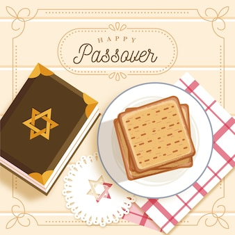 Flat design happy passover concept