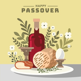 Flat design happy passover design