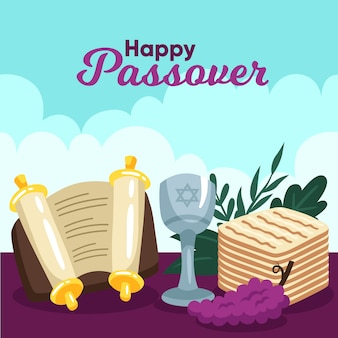 Flat design happy passover event