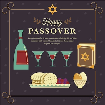 Flat design happy passover