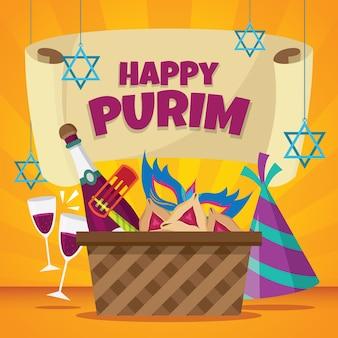 Flat design happy purim day celebration