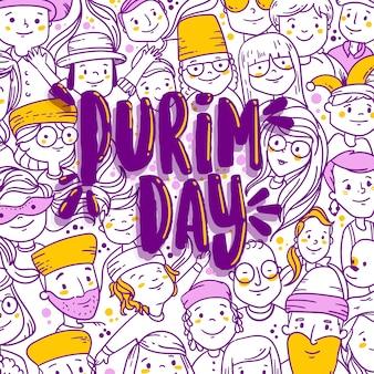 Flat design happy purim day concept