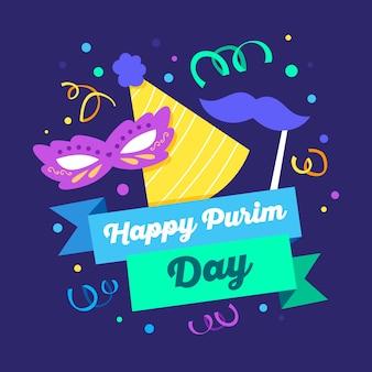 Flat design happy purim day design