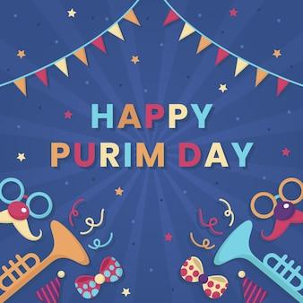 Flat design happy purim day event concept