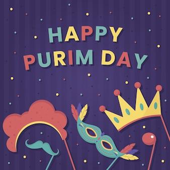 Flat design happy purim day event theme