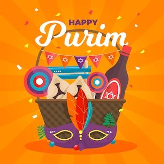 Flat design happy purim day event