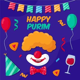 Flat design happy purim day illustrated