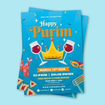 Flat design happy purim day theme