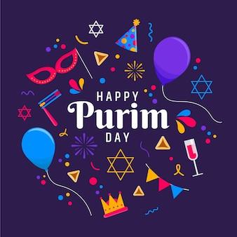 Flat design happy purim day