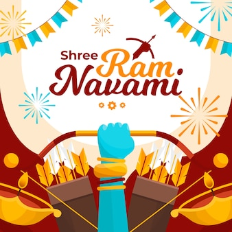 Flat design happy ram navami concept