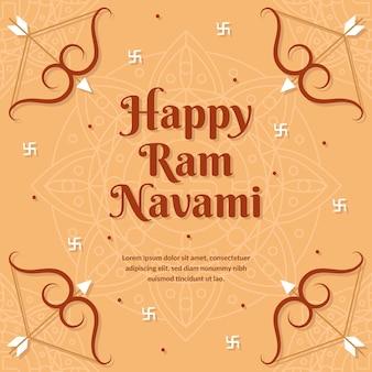 Flat design happy ram navami day celebration theme