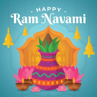 Flat design happy ram navami day event the、e