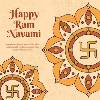 Flat design happy ram navami day theme