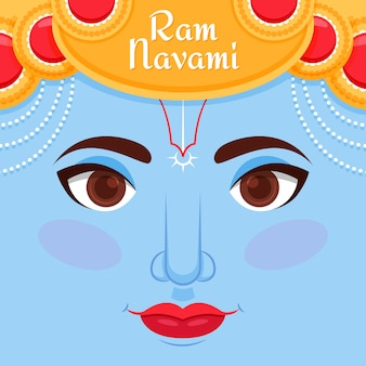 Flat design happy ram navami day theme