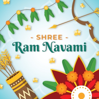Flat design happy ram navami day