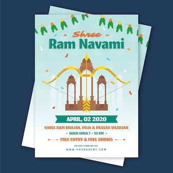Flat design happy ram navami event