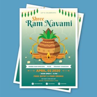 Flat design happy ram navami theme