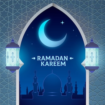 Flat design happy ramadan kareem crescent moon