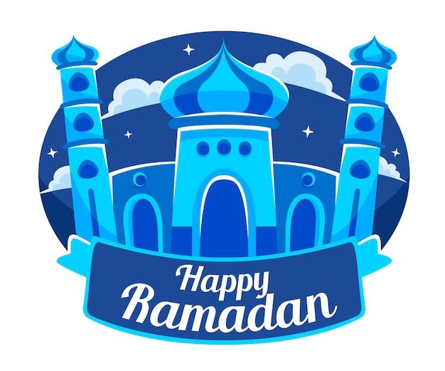 Плоский дизайн счастливый рамадан с мечетью
