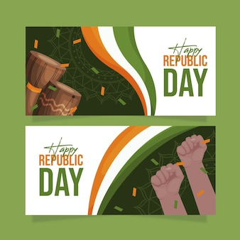 Flat design happy republic day banner