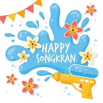 Flat design happy songkran thailand
