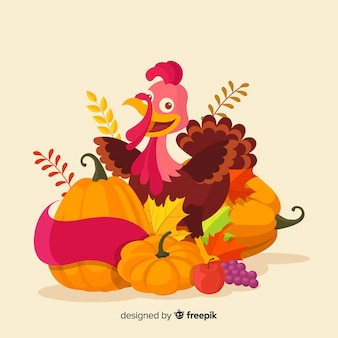 Flat design happy thanksgiving background with food